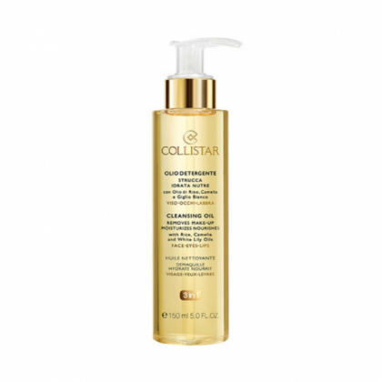 COLLISTAR CLEANSING OIL removes make-up, moisturizes, nourishes with Rice, Camelia and White Lily Oils 150 ml